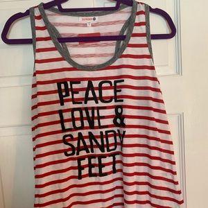 Sundry Racerback Tank Peace Love and Sandy Feet